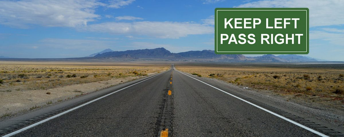 keep left pass right road